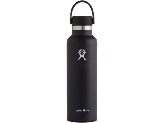 Hydro Flask Standard Mouth Stainless Steel Bottle with Standard Flex Cap 621ml, black
